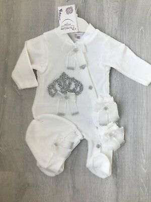 baby girl boy Unisex silver crown romper bodysuit  hat Baby Clothes Outfit Set