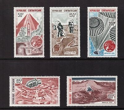 """Central African Republic MNH 1973 Moon Flight of """"Apollo 17"""" ,set  mint stamps"""