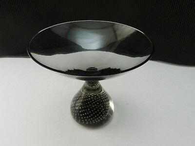 """Art Glass Compote Smoke Controlled Bubble Paperweight Base Polished Rim 5 3/4""""D"""