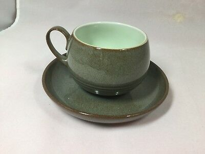 Denby Pottery Greystone England Cup and Saucer-Stoneware