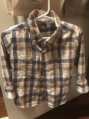 Baby Gap 12-18 Months Boys Button Down Shirt Plaid Brown And Ivory