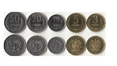 Uzbekistan: 1994 5-Piece Uncirculated Coin Set, 1 To 50 Tiyin