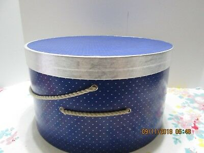 """VINTAGE Hat Box """" BLUE WITH SILVER DOTS  7  X  14""""  (2)"""