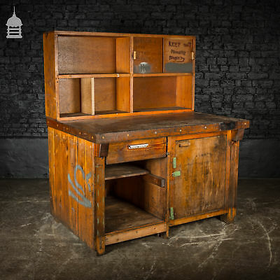 Mid Century Industrial Wooden Workbench with Drawer and Cupboards