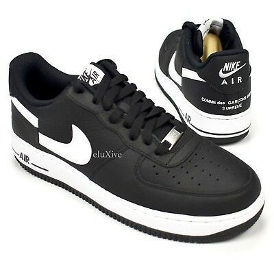 28dcdd8f598164 NWT Supreme Comme des Garcons Nike Air Force 1 CDG Black Split Logo 9  AUTHENTIC