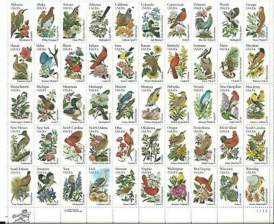 US stamps scott 1953-2002 State Birds and flowers mint sheet of 50 cv 27.50