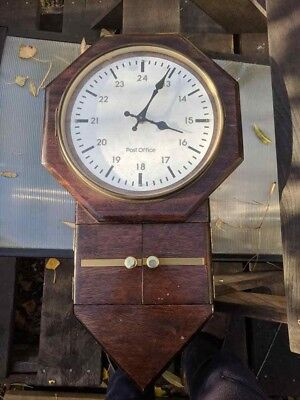 Vintage Post Office wooden Quartz? Wall Clock (1960/70's?) RARE