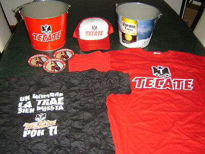MEGA PAQUETE BEER TECATE CORONA EXTRA 8 items Metal Ice Bucket+t-shirt+serving