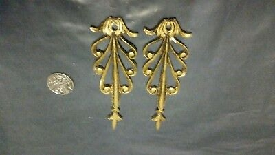 2 x Vintage Brass applique Furniture Mount Ornament Lamp Clock upcycle 90 x 30mm