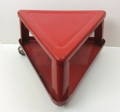 Vintage Red Metal Triangle Rolling Shop Stool / Creeper w/ Shelf / Tray