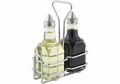 Winco G-104S, 5.4'' x 2.6'' Oil And Vinegar Cruet Set With Stainless Steel...