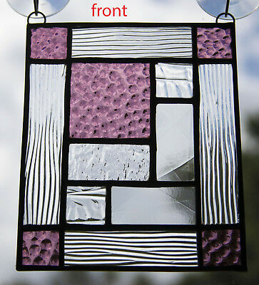 """Stained Glass Suncatcher Purple/Clear Abstract Panel - 6""""x5"""""""