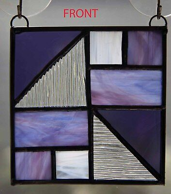 """Stained Glass Suncatcher Purple Abstract Panel - 4""""x4"""""""