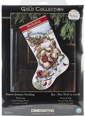 Dimensions 8752 Gold Collection Santa's Journey Stocking Counted Cross Stitch