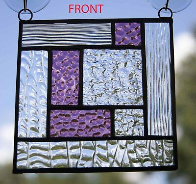 """Stained Glass Suncatcher Purple/Clear Abstract Panel - 5""""x5"""""""