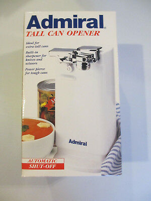 Admiral Tall Electric Kitchen Can Opener White Knife Scissor Sharpener