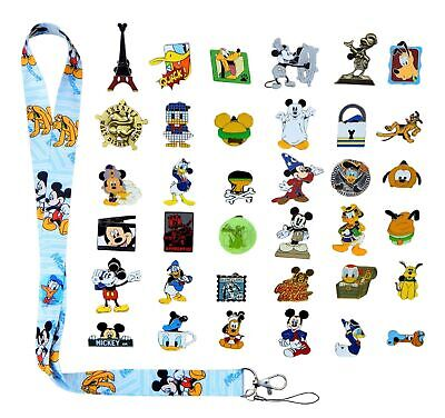Mickey, Donald & Pluto Starter Lanyard Set with 6 Disney Trading Pins - NEW