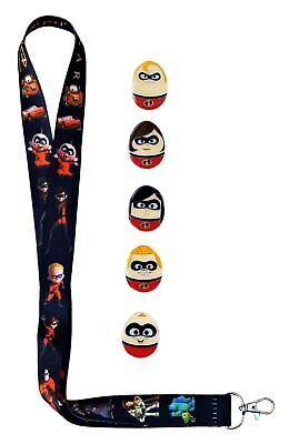 Incredibles Pixar Lanyard and 5 Disney Egg Trading Pins Starter Set ~ Brand NEW