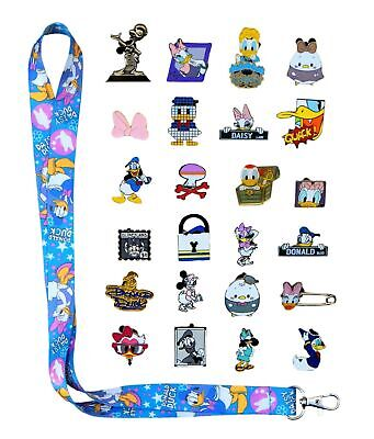Donald & Daisy Themed Starter Lanyard Set with 6 Disney Trading Pins - Brand NEW