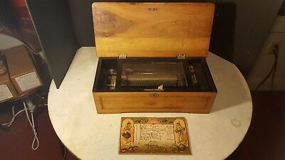 "Antique Cylinder Music Box 10 Tune 7 1/2"" For Parts or Project Restoration"