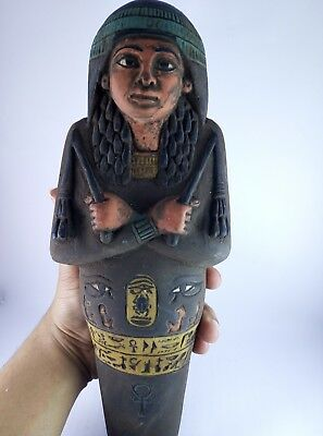 ANCIENT EGYPTIAN Antique Large USHABTI and Scarab and EYE OF HOURS Stone Bc