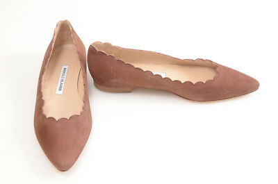 23a75e28ce8 Manolo Blahnik Srila brown 7.5 37.5 suede scalloped pointy ballet shoe NEW   685