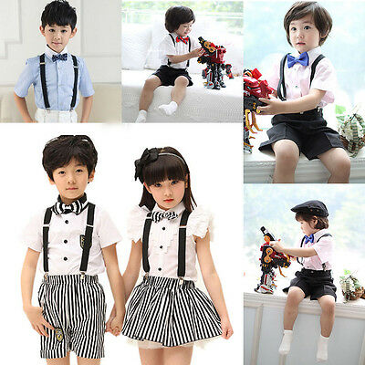 Fashion Kids Baby Suspenders Elastic Y-Back Braces Clip-on Boys Girls Adjustable