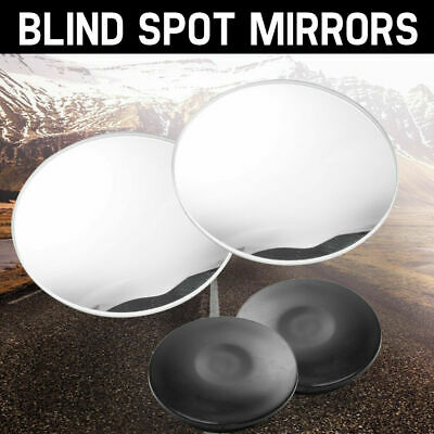 2x Round Blind Spot Mirrors Wide Angle Adjustable Rimless Mirror Rear View