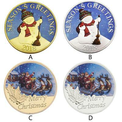 4 Pcs 2018 Merry Christmas Santa Claus and Snowman Commemorative Coin Collection