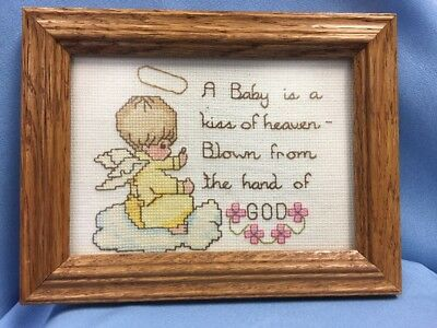 "VTG Sweet Handstitched Baby Gift Sampler, Inscribed, 1994 8.5"" X 6.5"""