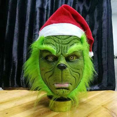 US SHIP Xmas Grinch Cosplay Mask Costume Helmet How the Grinch Stole Christmas