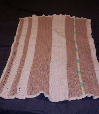 Vintage pink and dusty rose striped crochet baby blanket