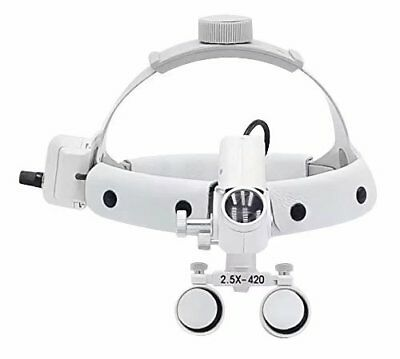 2.5X420mm 5W LED Surgical Headlight Leather Headband Loupe with Light White