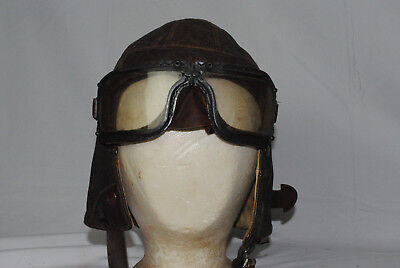 WW2 RAF Type B PILOTS LEATHER FLYING HELMET WITH MKIII Mark 3 A Goggles 12-01