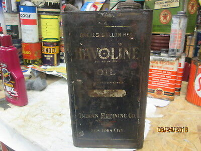 Original Early Havoline Motor Oil Gallon Can By The Indian Refining Co.