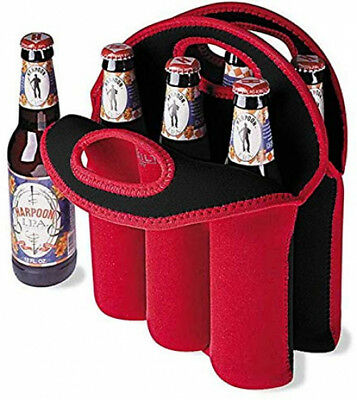 6 Pack Wine Beer Bottle Protector Carry Bag Home Travel Picnic Red Linfgsfire