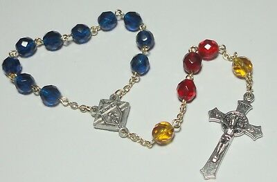 Handmade in the USA Knights of Columbus Single Decade Rosary in K of C colors!