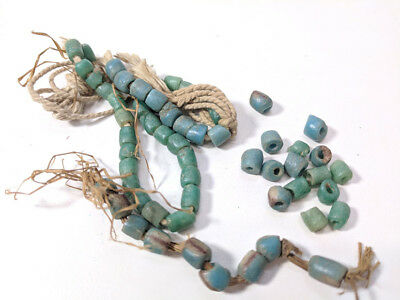 Lot of Ancient / Older than Antique Trade Beads 2 Sizes 3 Ocean Blue Colors