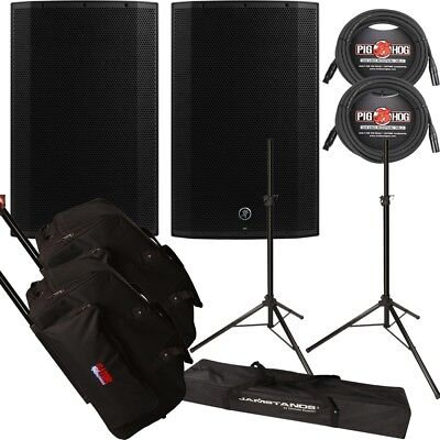 Mackie Thump 15A 1300W Powered Speaker Pair w/ Gator Tote Bags, Cables & Stands