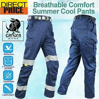 Canura Work Pants Cargo Narrow Fit Cool Lightweight Cotton Drill 3M Reflective