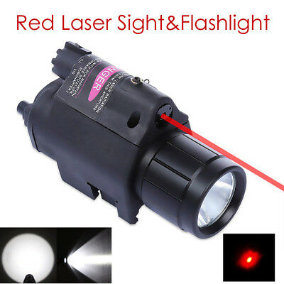 Red Dot Laser Sight Mounted CREE LED Flashlight Rail Mount Torch For Airsoft