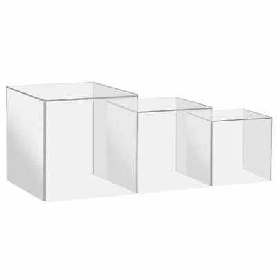 3Pcs Transparent Jewelry Acrylic Display Show Box Case Tray Stand Protect Cube