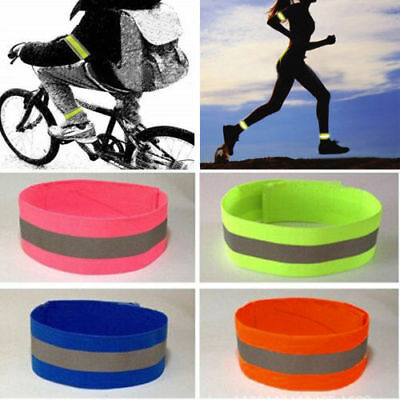 2Pcs/Set Sport Running Safety Reflective Arm Band Belt Strap Night Glowing Band