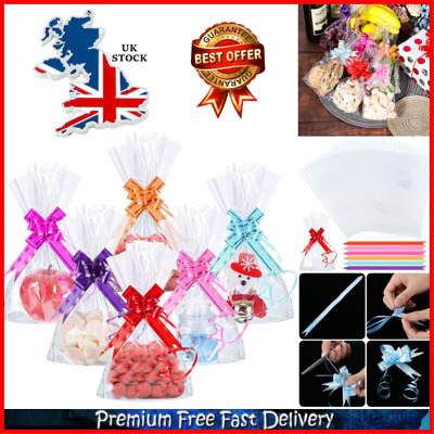 Cupcake Gift Bags 15x25 cm Flat Cellophane Clear Party Bags Pack of 50 With Ties