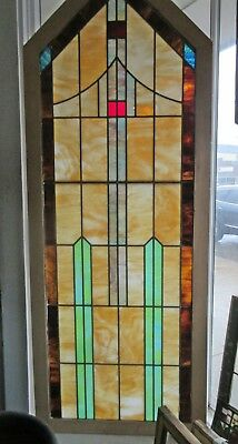 """Huge Antique Stained Glass Window Pointed Top 78""""H Cathedral Style Pair Avail."""