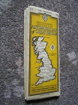 Vintage cloth Bartholomews automobile map of York & Darlinton Quarter-inch.