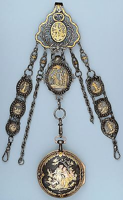 Rare Gold Decorated Watch and Chatelaine