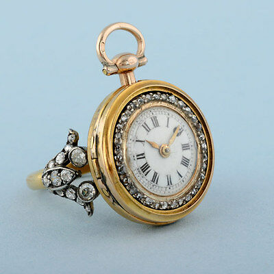 Very Rare Gold & Diamond Set Ring Watch (possibly Smallest Known Fusee  Watch)