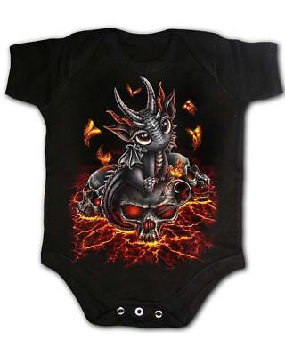 Spiral Stranded Dragon One Piece Baby Infant Cute Gothic Skull Fire Butterfly