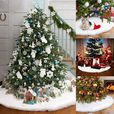 80cm Christmas Tree Long Snow Plush Skirt Base Floor Mat Cover Xmas Party Home